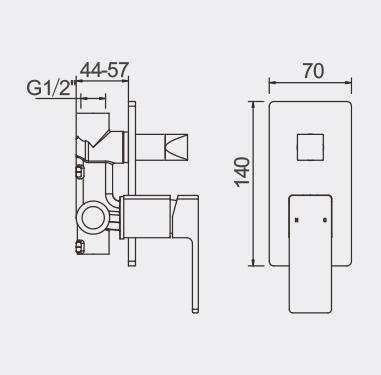 Lucas Bath Shower Mixer with Diverter Dimensions