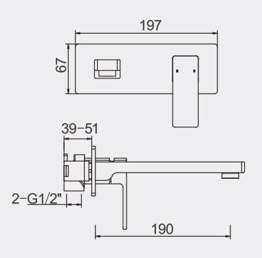 Lucas Wall Basin Bath Mixer Dimensions