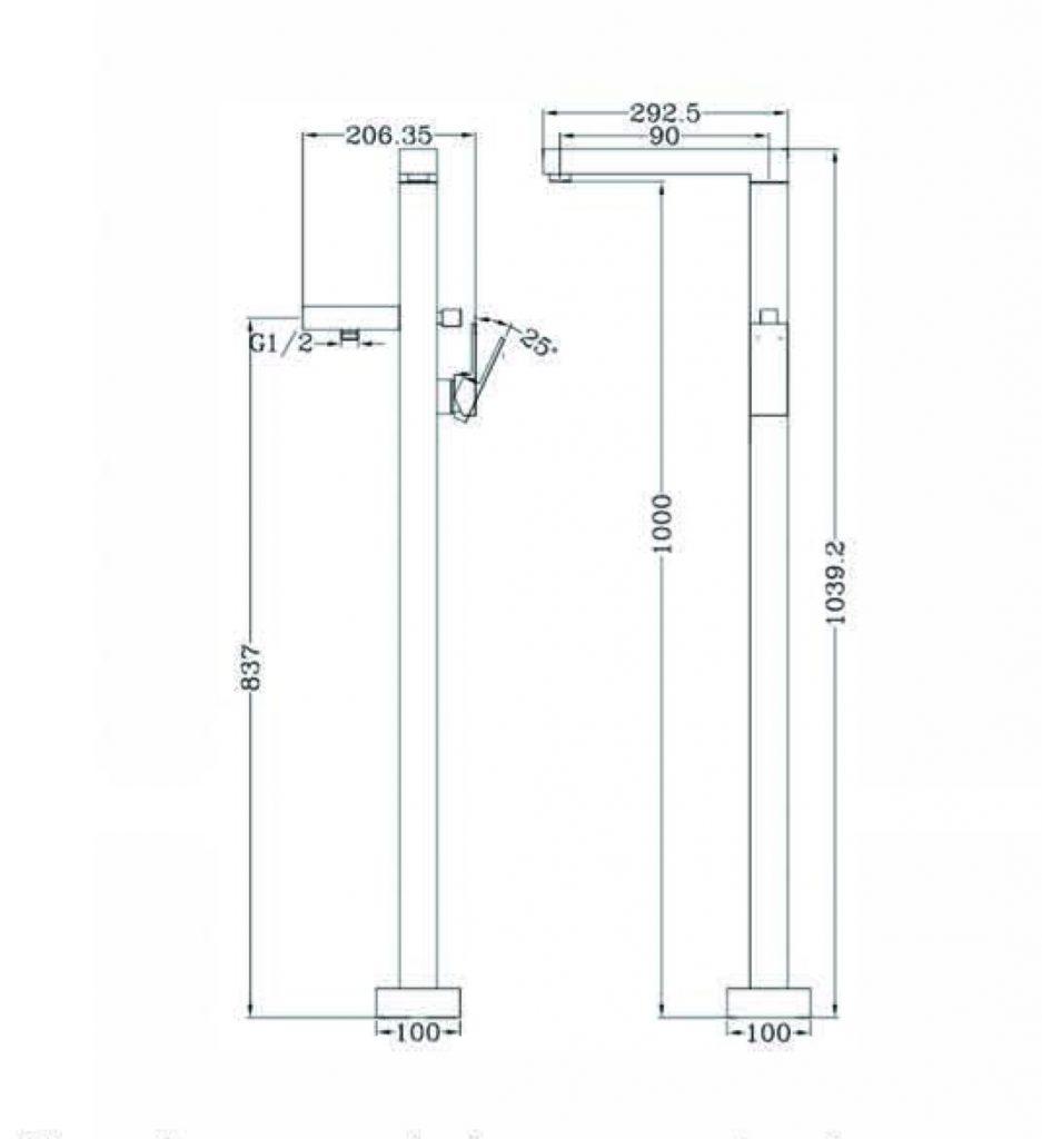 Vibe Square Floormount Mixer Dimensions