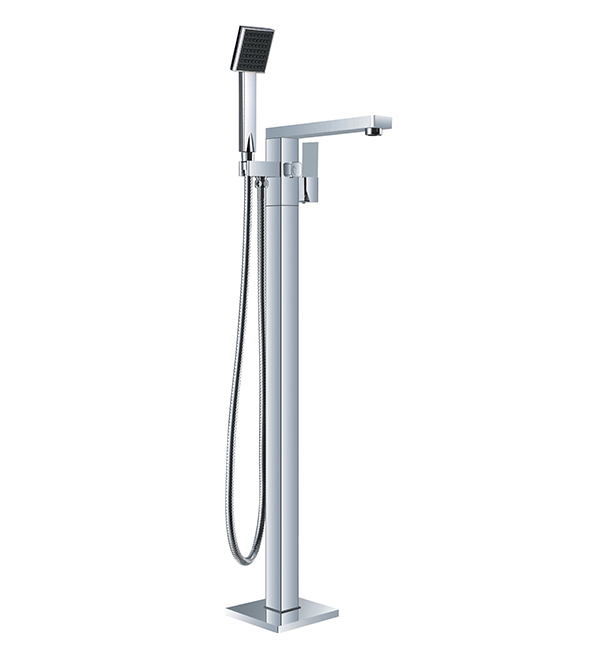 Vibe Square Floormount Mixer with Handshower Chrome