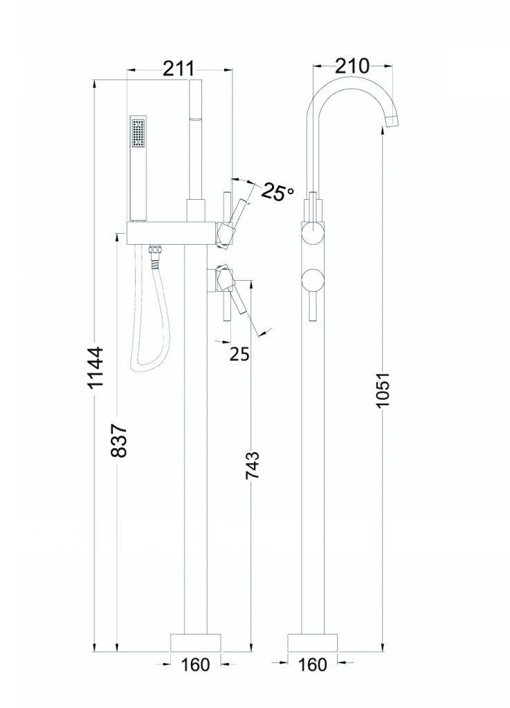 Nova Round Floormount Mixer Dimensions