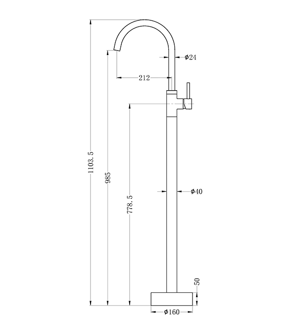 Dolce Floormount Mixer Dimensions