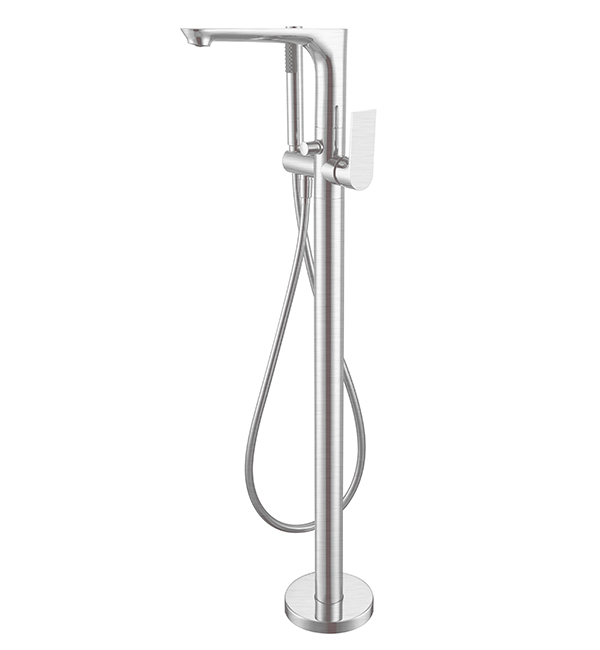 Bianca Floor Standing Bath Mixer Brushed Nickel