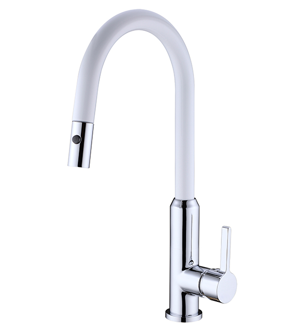 Pearl Pull Out Vegie Spray Sink Mixer White Chrome