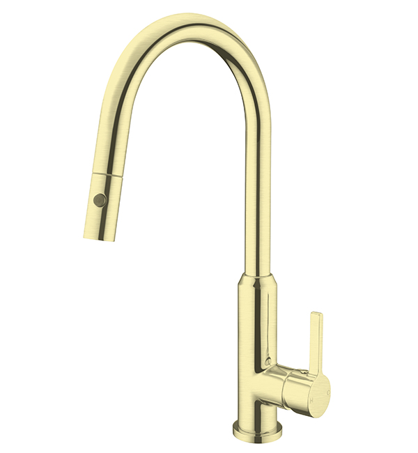 Pearl Pull Out Vegie Spray Sink Mixer Brushed Gold