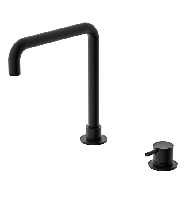Hob Basin Mixer Square Spout Matte Black
