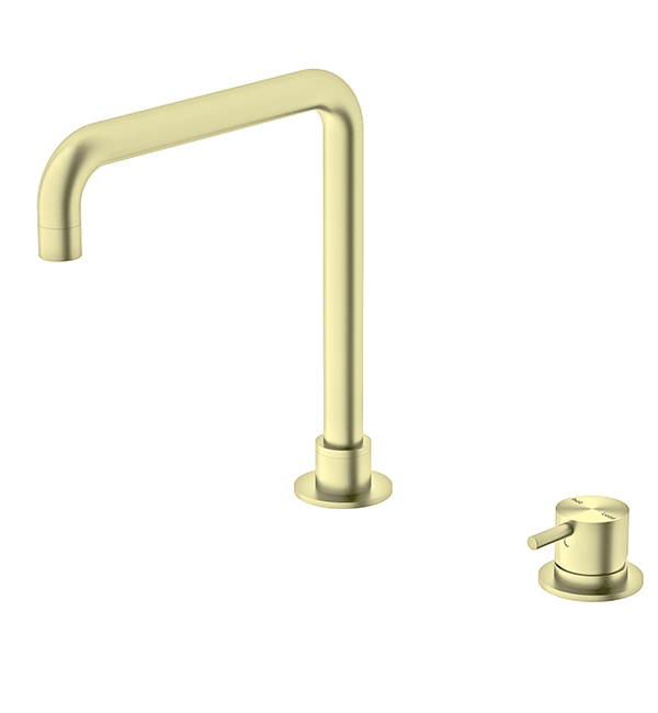 Hob Basin Mixer Square Spout Brushed Gold