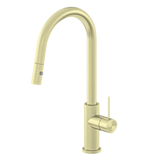 Mecca Pull Out Sink Mixer Brushed Gold