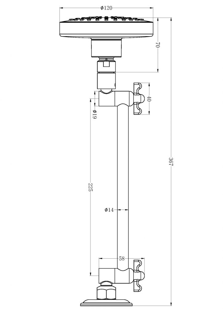 XPlus All Direction Shower Head DImensions
