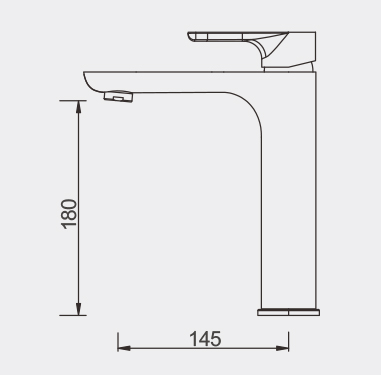 Plush Rose GOld Middle Basin Mixer Dimensions