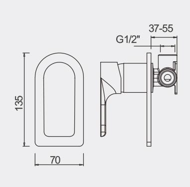 Plush Rose GOld Bath Shower Mixer Dimensions
