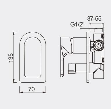 Plush Bath Shower Mixer with Diverter - Rose GOld - dimensions