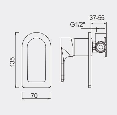 Plush Bath SHower Mixer Dimensions