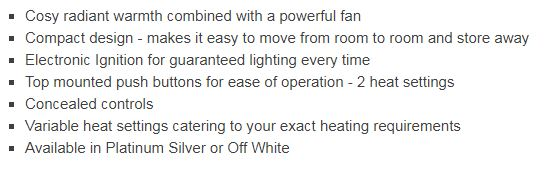 ROF1015 Rinnai Titan Gas Room Heater Features
