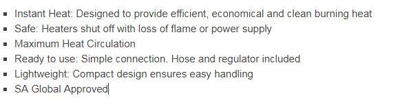 ROF1065 Outdoor industrial Blow heater features