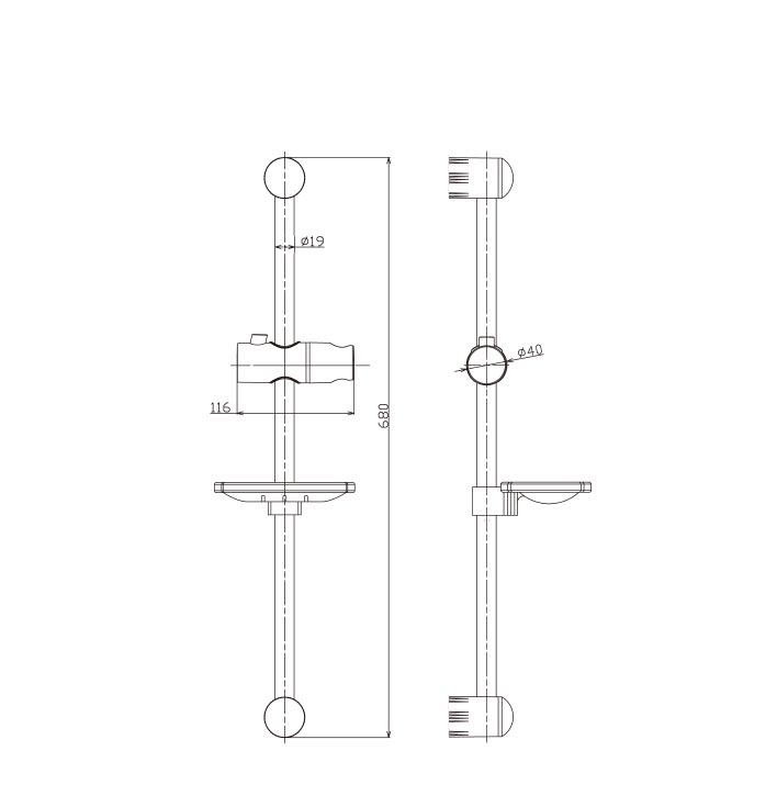 Ecom Wall Bar Kit ROund Dimensions