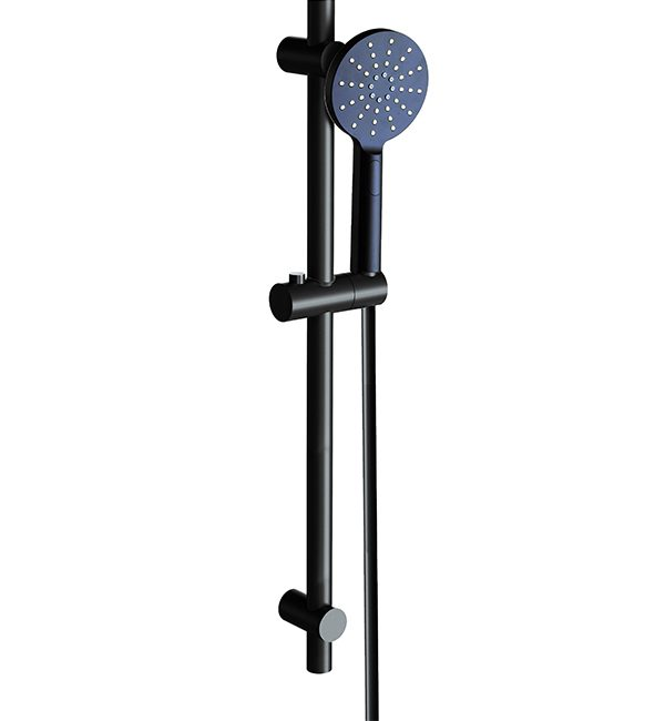 SHR1085 Bakara Shower Round on Sliding Rail Matte Black