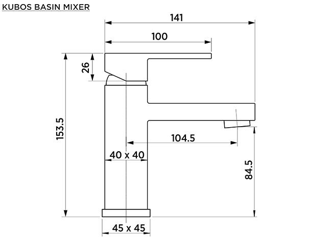 K1010 Kubos Basin Mixer Dimensions