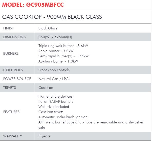 GAS COOKTOP - 900MM BLACK GLASS