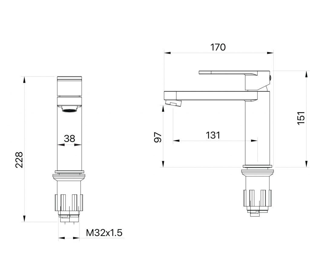 Saffron Basin Mixer Dimensions