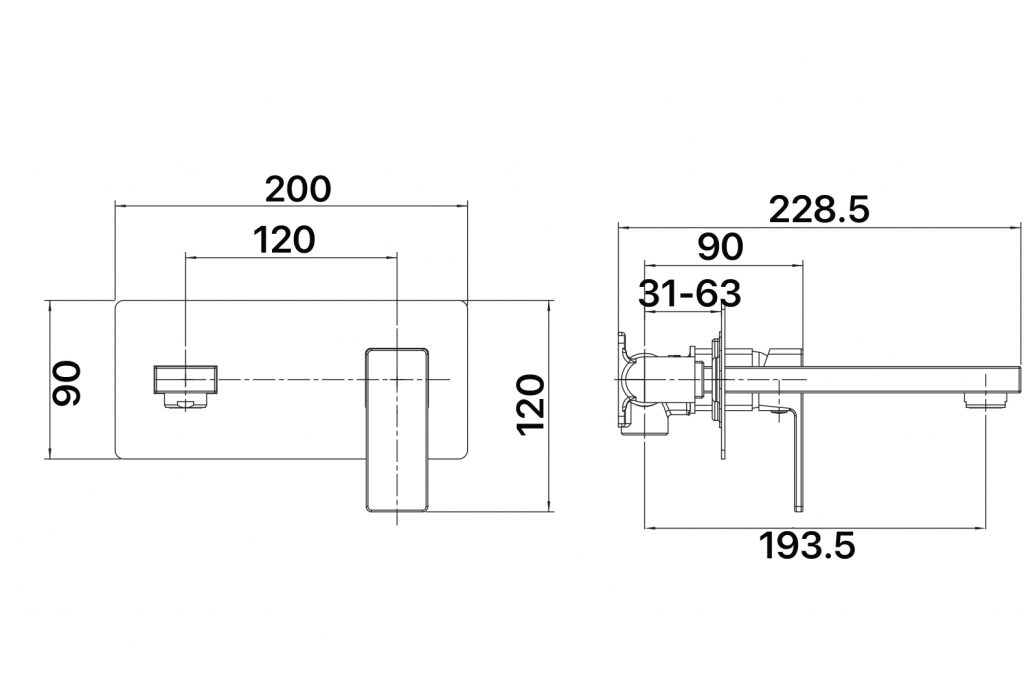 Sage Wall Plate MIxer Dimensions