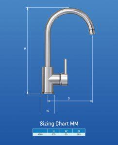TAB1000 Pino Sink Mixer Dimensions