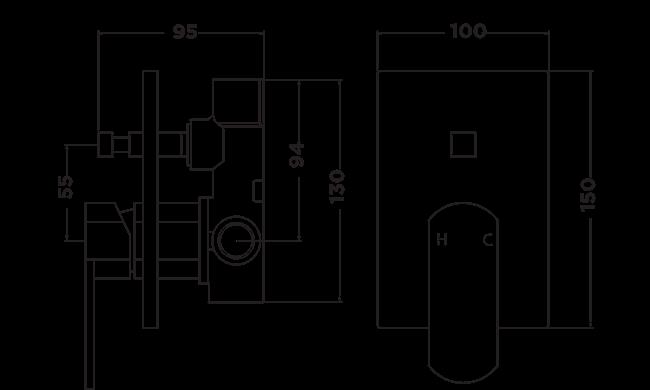 B1020 Bingo Shower Diverter Mixer Dimensions