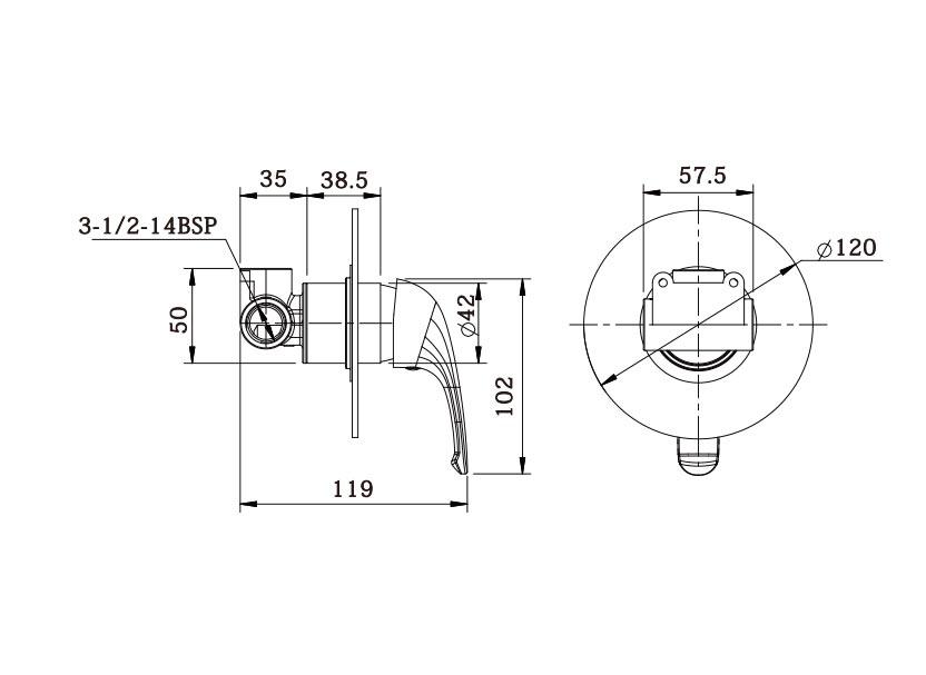 Ecom Shower Mixer Dimensions