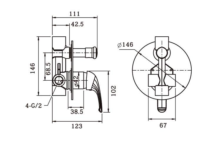 Ecom Shower Diverter Mixer Dimensions
