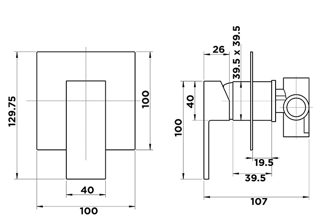 Kubos Shower Diverter Mixer Dimensions