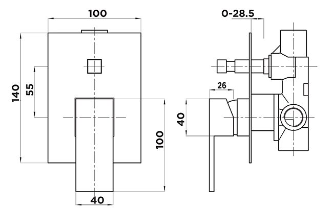 K1040 Kubos Shower Diverter Mixer