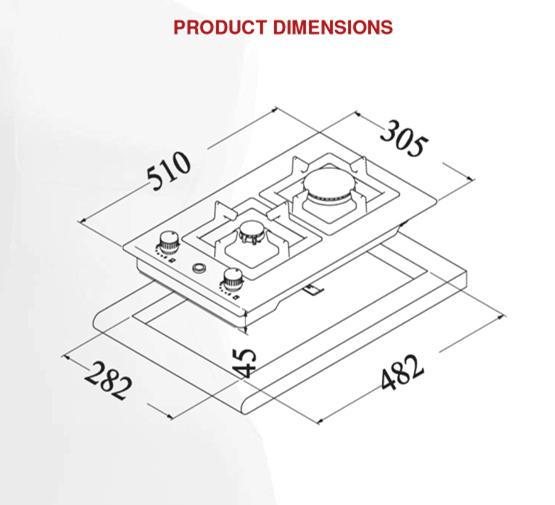 eu1005 - 30cm gas wok cooktop dimensions