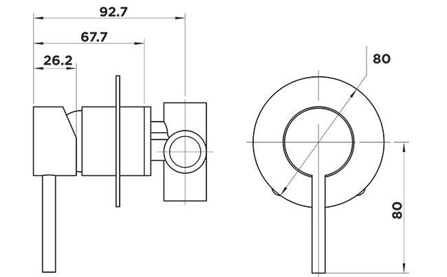 H1055 Holli Shower Mixer Matt Black Dimensions