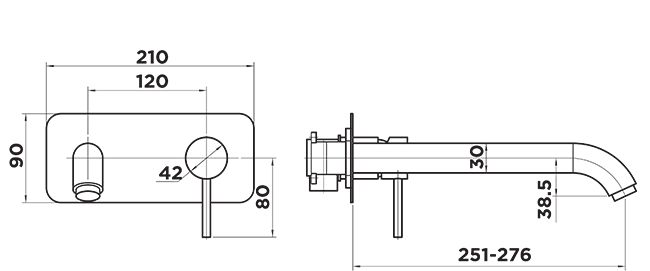 H1060 Holli Wall Tub Mixer Dimensions