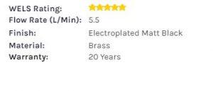 k1005 Kubos Matt Black sink mixer specs