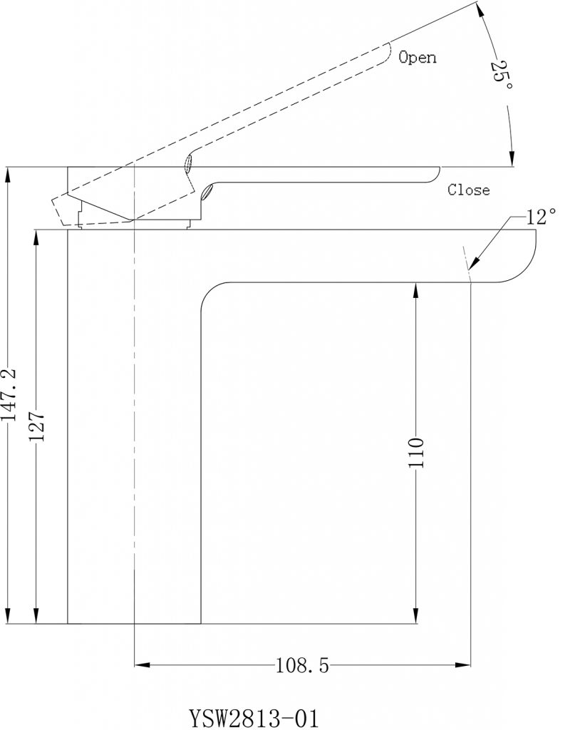 Astra Basin Mixer Dimensions