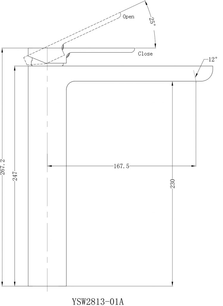 Astra Tall Basin Mixer Dimensions