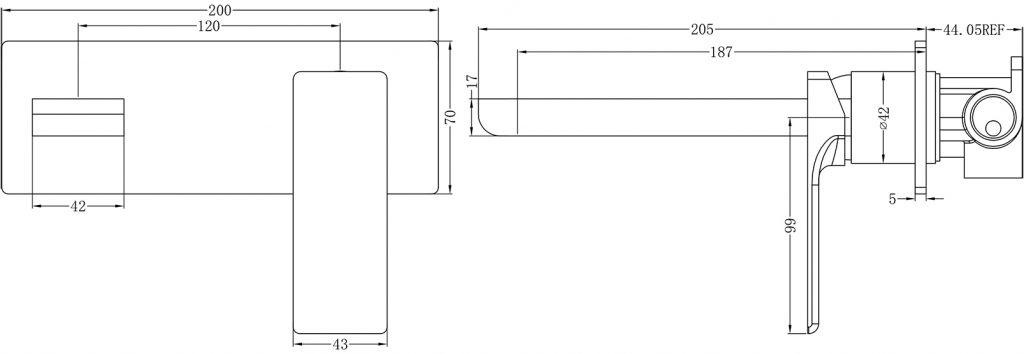 Astra Wall Basin Mixer Dimensions