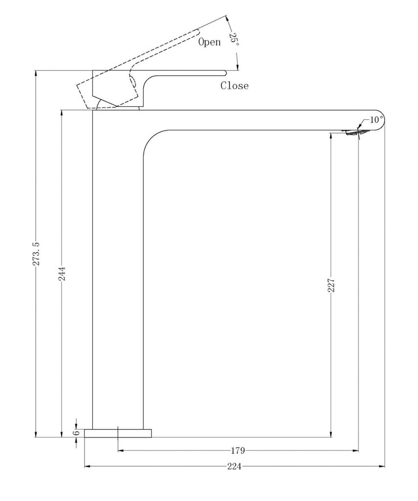 Bianca Tall Basin Mixer Dimensions