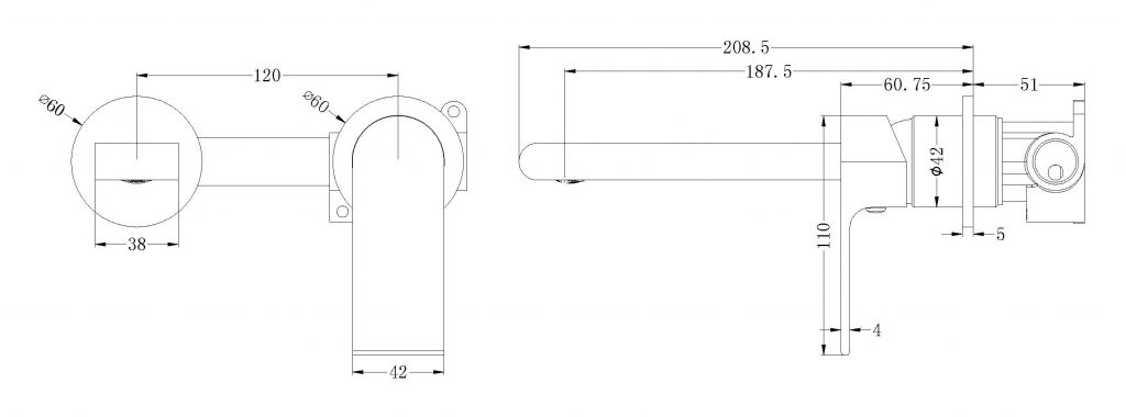 Bianca Wall Basin Mixer DImensions