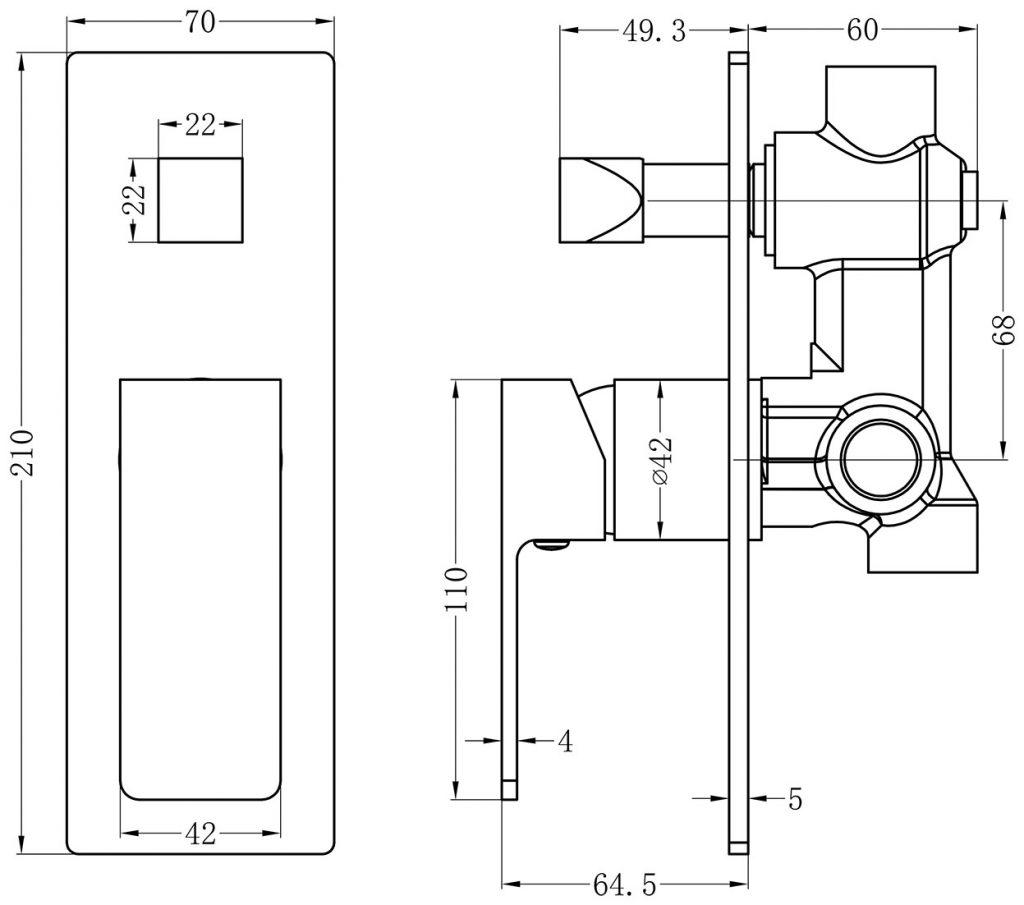 Celia Shower Diverter Mixer Dimensions