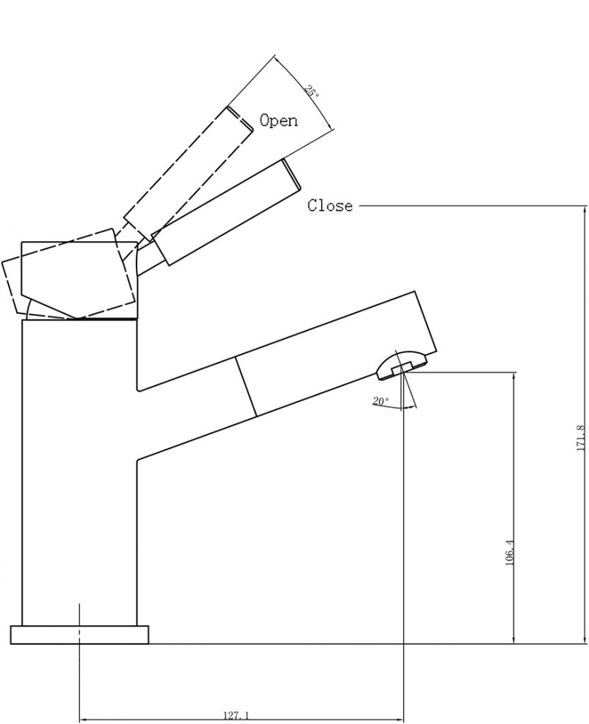 Dolce Basin Mixer Angle Spout Dimensions