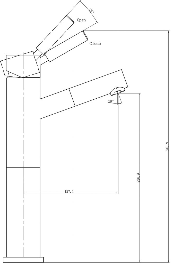 DOlce Tall Basin Mixer Angle Spout Dimensions