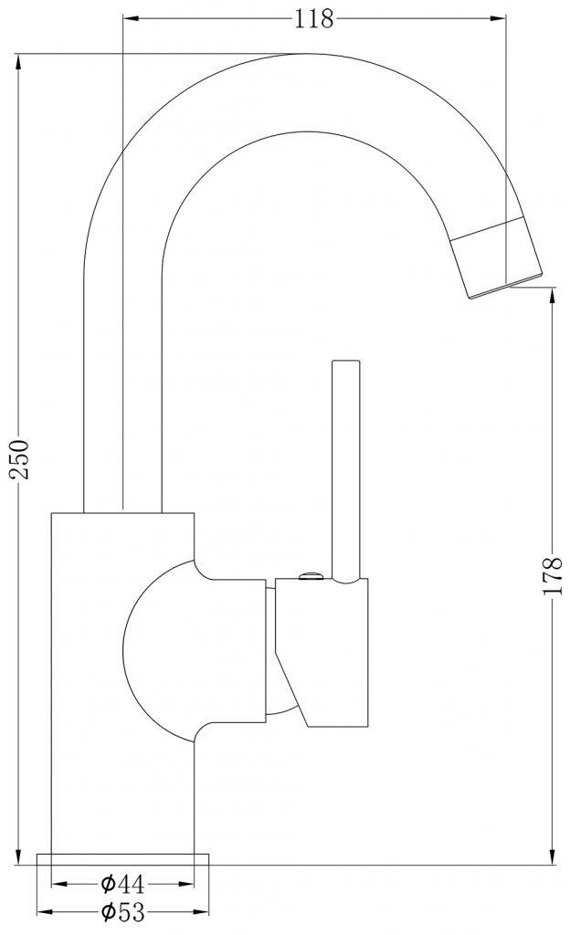 Dolce Swivel Basin Mixer Dimensions