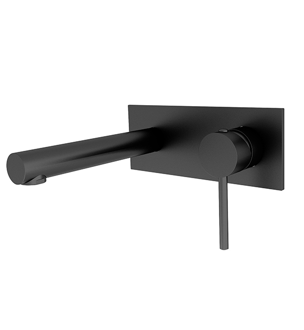 Dolce Wall Basin Mixer Straight Spout Matte Black