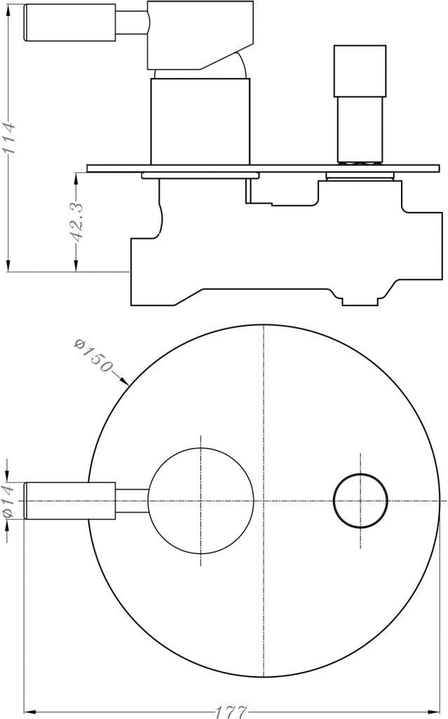 Dolce Shower Diverter Mixer Dimensions