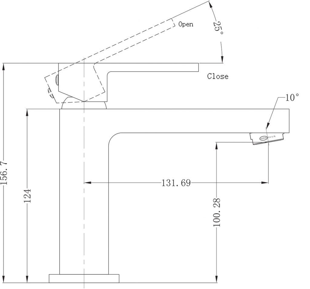 Ecco Basin Mixer Dimensions
