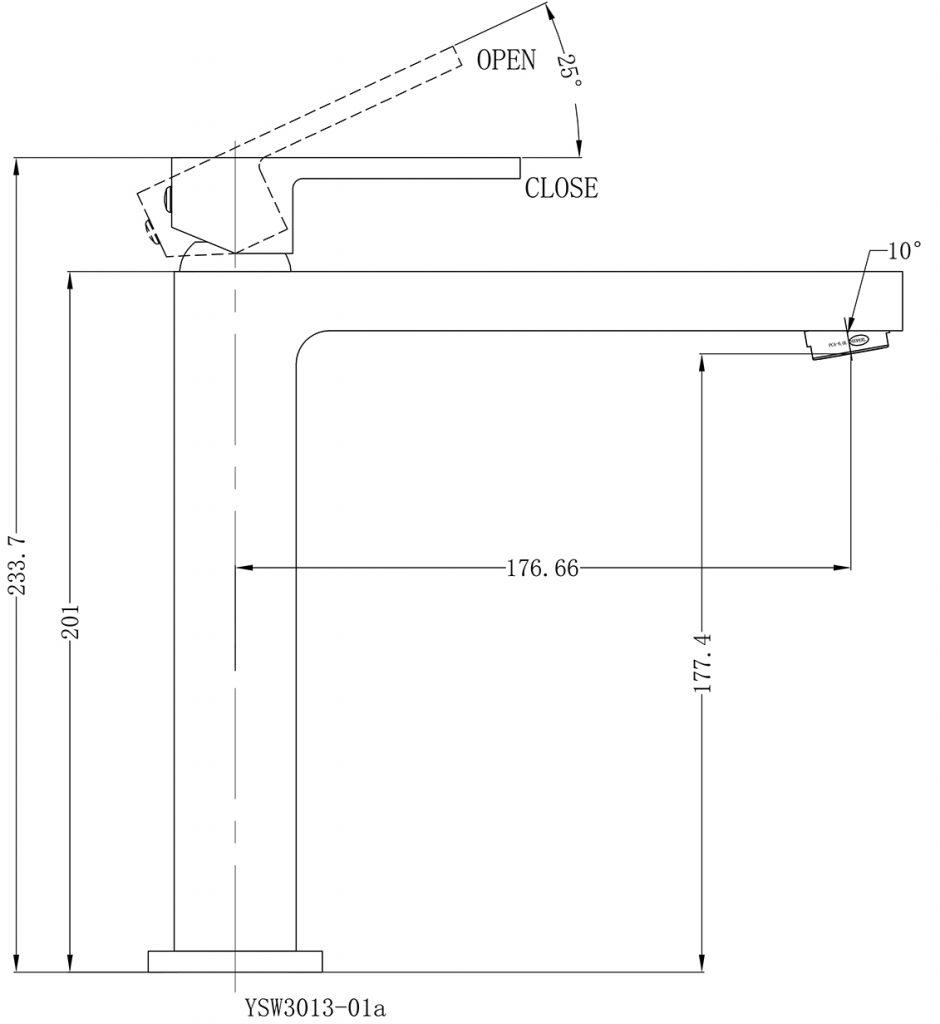 Ecco Tall Basin Mixer Dimensions