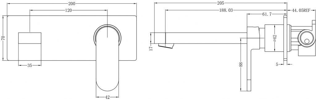 Ecco Wall Basin MIxer Dimensions