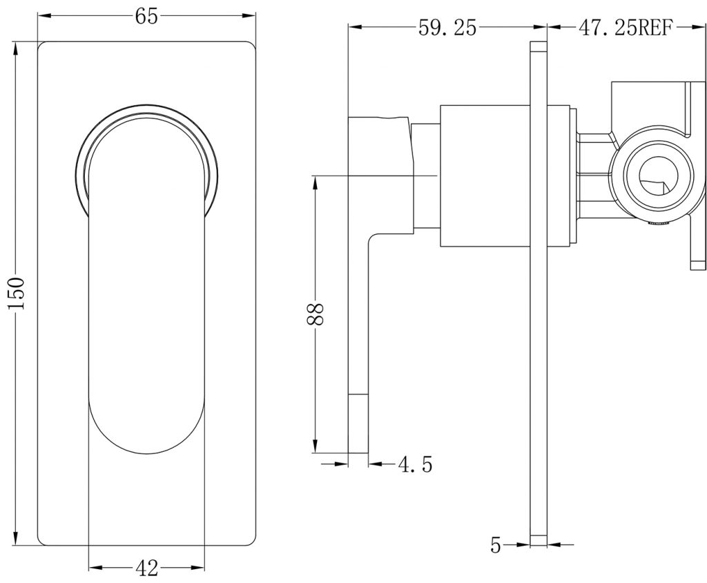 Ecco Shower Mixer Dimensions